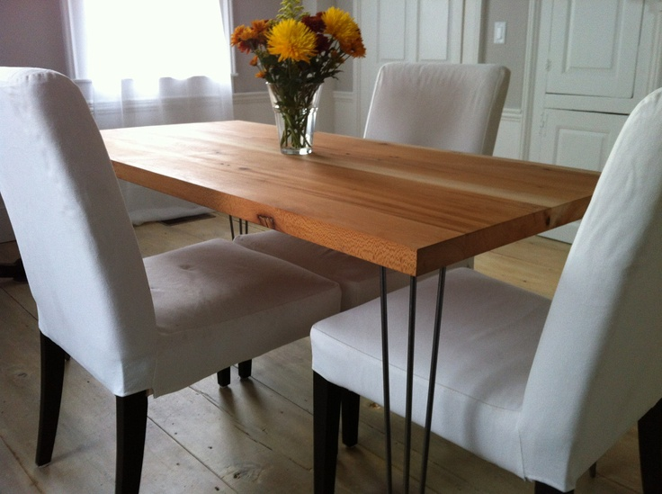 Modern industrial dining table featuring reclaimed sycamore barnwood top with hairpin legs. $695.00, via Etsy.