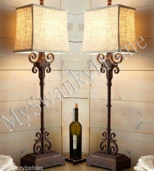 Horchow Spanish Iron MONTERREY Table Lamp PAIR Set NEIMAN MARCUS Accent Buffet #Southwestern