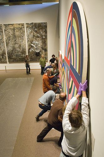 """It takes 22 people to install Frank Stella, Raqqa II, 1970 Synthetic polymer and graphite on canvas, 120 x 300"""""""