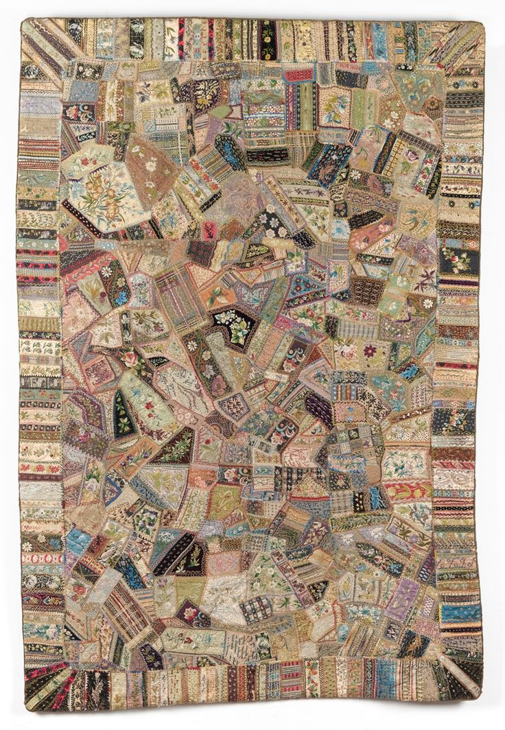 Crazy Quilt Coverlet made from Pawnbroker labels. see more Crazy quilts made from scraps: https://www.pinterest.com/JeffsCelticArt/ac-decor-quilt/