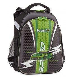 Budmil SALEM fekete-szürke-zöld, autós iskolatáska 1022010-S6