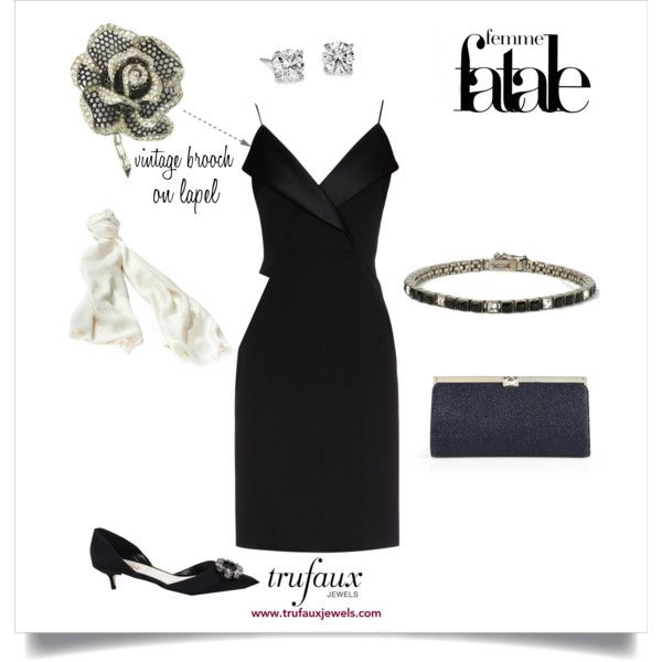 Dress up your LBD with the brooch from this Black Enamel & Diamanté Rose of Seville 1950s Brooch & Earrings Set by Marcel Boucher and this Onyx, Diamanté & Sterling Art Deco Line Bracelet by Fishel, Nessler, both from TruFaux Jewels.