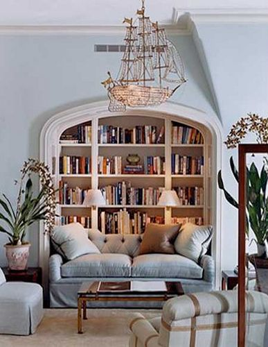 Bookshelf love.  The chandelier is also pretty amazing.