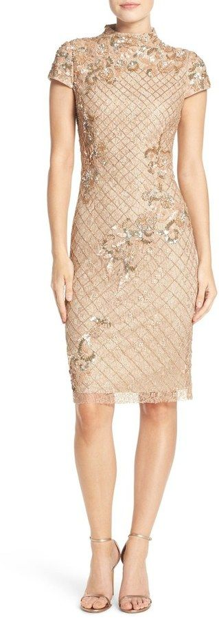Adrianna Papell Embellished Lace Sheath Dress
