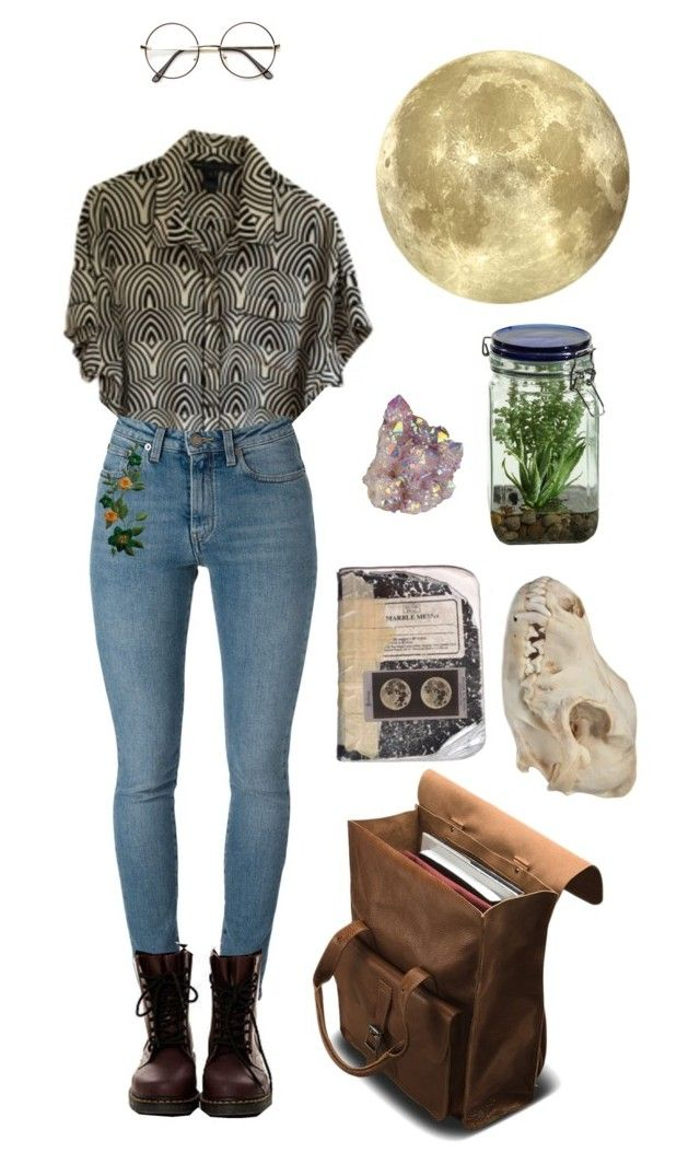 """""""Moon child"""" by thewitchishere ❤ liked on Polyvore featuring Marc by Marc Jacobs, ZeroUV, Yves Saint Laurent, Dr. Martens and Alöe"""