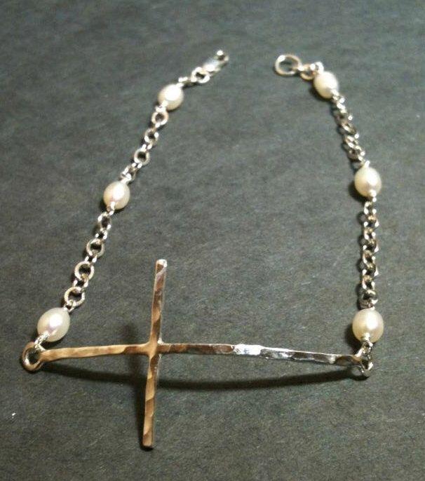 Sideway cross bracelet, Cross Bracelet, sterling silver, bracelet, handcrafted cross bracelet by EllynBlueJewelry on Etsy https://www.etsy.com/listing/158920759/sideway-cross-bracelet-cross-bracelet