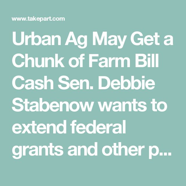 Urban Ag May Get a Chunk of Farm Bill Cash Sen. Debbie Stabenow wants to extend federal grants and other programs to city-based farmers.