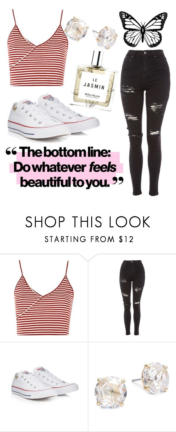 """Bottom Line"" by laurenmcgrail ❤ liked on Polyvore featuring Topshop, Converse, Kate Spade and Miller Harris"