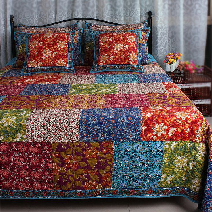 Thick Vintage Winter Cotton Patchwork Blue Red Green Bed Cover Quilt Comforter | eBay# Pinned By Bohemian Spirit ~ Facebook