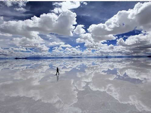 Where the clouds touch the Earth....  The Salar de Uyuni at 4,086 square miles (10,582 sq km) is the largest salt flat in the world! - See more at: http://www.bolivia-facts.com/salar-de-uyuni.html#sthash.kPtzHGkm.dpuf