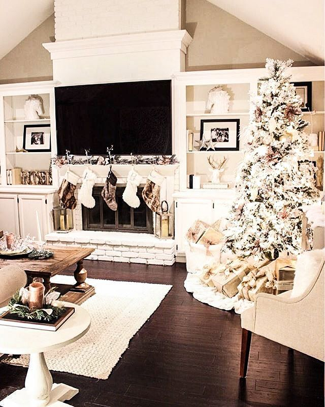 hardwood floors, updated fireplace mantle, white cabinetry, Christmas