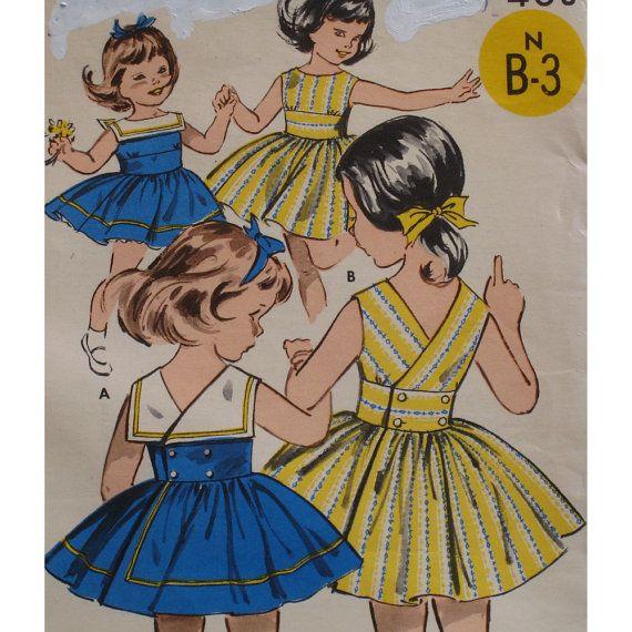 Vintage 1950s Girls Sundress Pattern Button Back by VogueVixens, $10.00