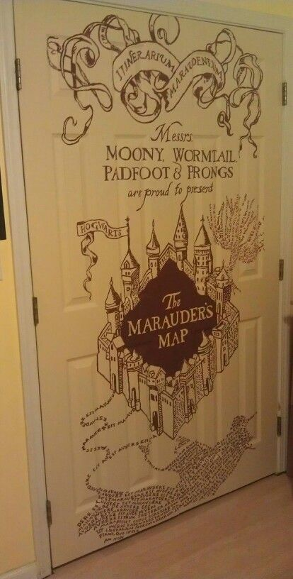 My Marauders Map doors I painted. Just project the image onto the doors and paint away!