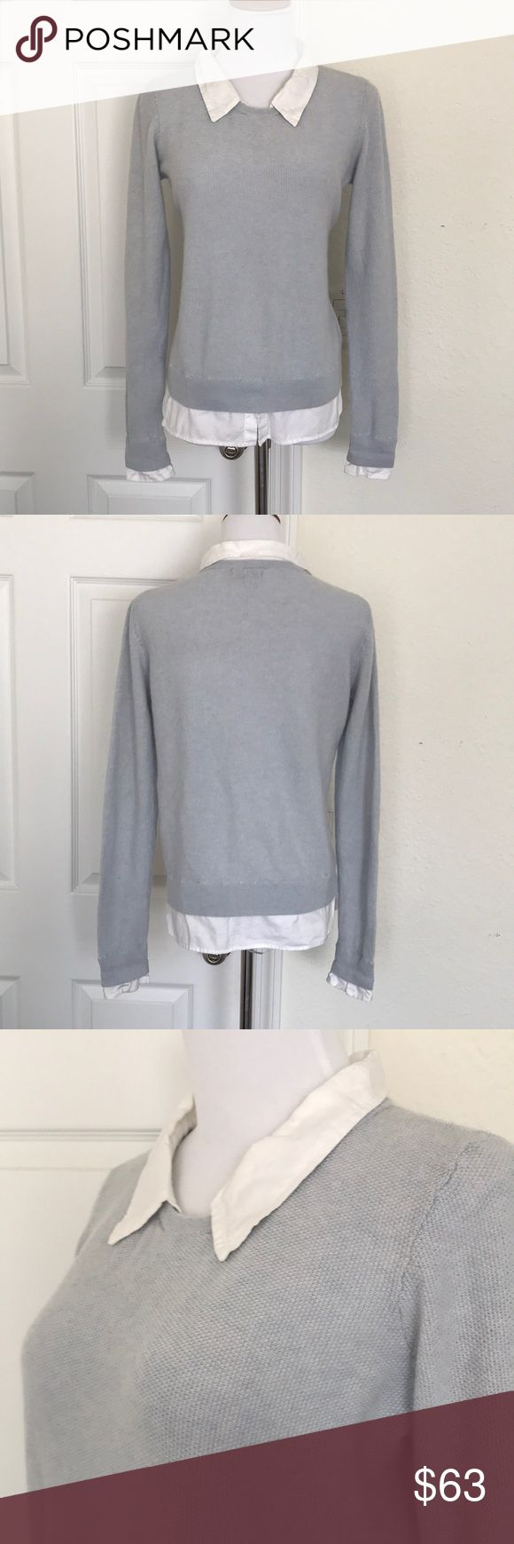 """NWOT Joie Cashmere Wool Blend Layered Top Joie baby blue and white shirt. Faux """"pullover over collared shirt"""" style. Never worn. Chest is 40 inches. Length is 23.25 inches. Hand wash cold. Joie Tops"""