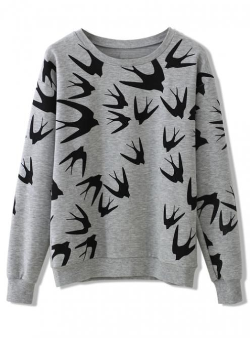 Gray Swallow Print Sweatshirts