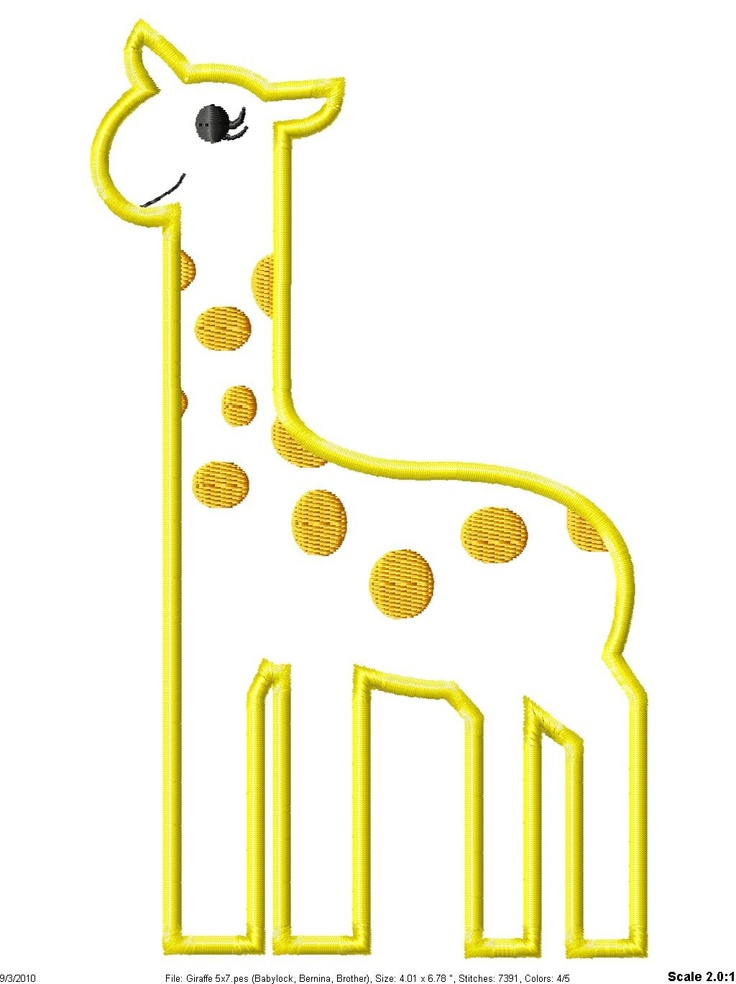 Giraffe machine embroidery applique design via