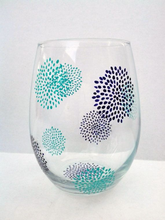 Hand Painted Stemless Wine Glasses by TheScarletLine on Etsy