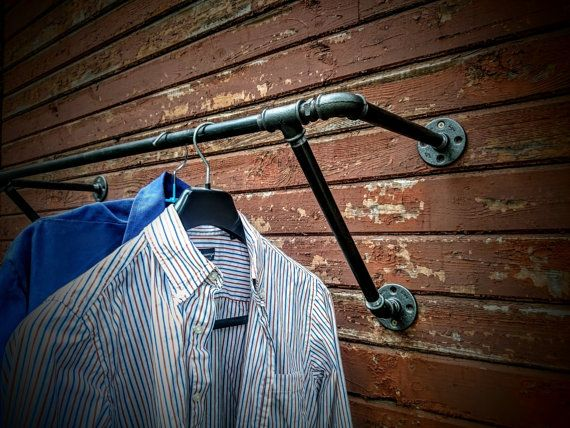 Heavy duty wall mounted clothes rack Wall by SilverBeardLampCo                                                                                                                                                                                 More