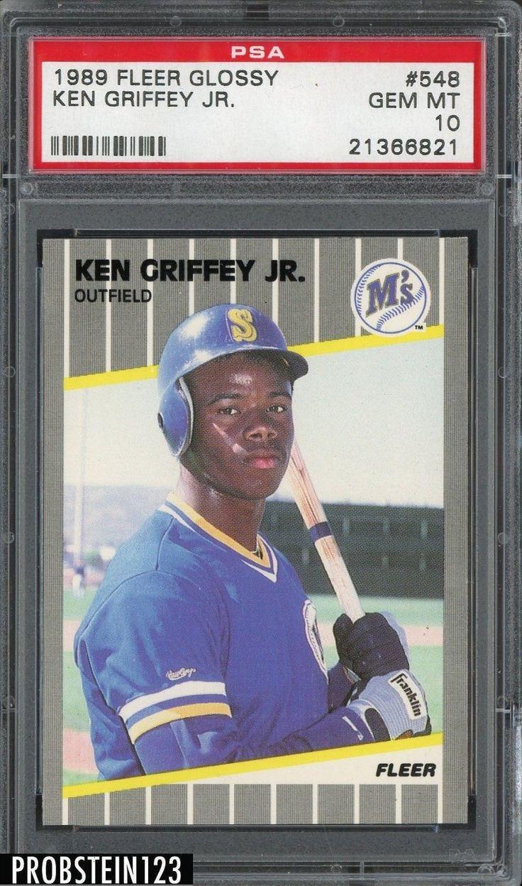 1989 fleer glossy 548 ken griffey jr rc rookie hof psa