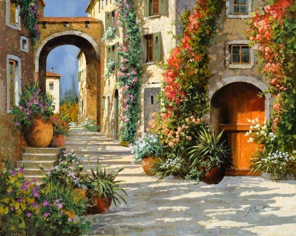 La Porta Rossa Sulla Salita Guido Borelli Painting Oil on Canvas