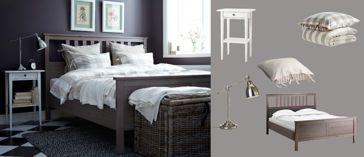 hemnes grey brown bed with white bedside table and barometer nickel