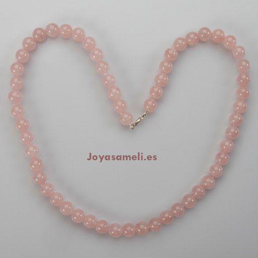 Collar de mujer de cuarzo rosa extra 10mm, largo 60cm
