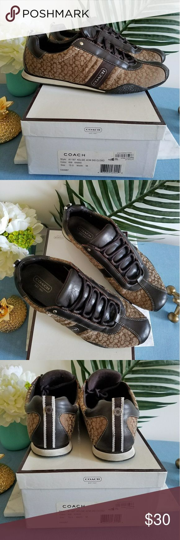 AUTHENTIC women COACH SNEAKERS STYLE: A1187 AUTHENTIC COACH SNEAKERS STYLE: A1187 KELSIE 4CM SIGNATURE LOGO COLOR: Brown Khaki LIGHTLY WORN - SOLES SHOWS WEAR. COACH Shoes Sneakers