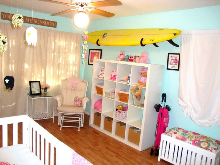 Bright Blue Baby Room for Baby Girl * reminder to finish artwork and board rack for baby girl's room