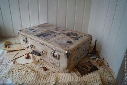 """""""Париж""""-чемодан - чемодан,бежевый,Париж,ретро,СССР,Декупаж,подарок,для интерьера"""