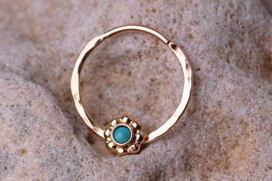 SEPTUM RING / EAR /Cartilage 14 K Gold filled with 2mm genuine Turquoise stone. Handcrafted. $18.95, via Etsy.
