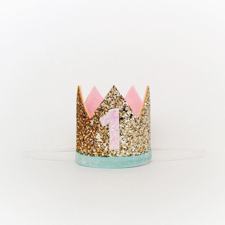 Baby Girl Birthday Hat // First Birthday Crown // Pink Gold Mint // Presh Toast Crowns on Etsy
