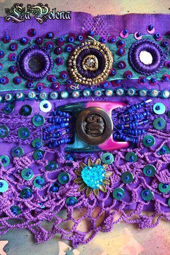 https://flic.kr/p/VZPL8V | '501' wrist wrap lace bracelet |  Ode to Janis Joplin jewelry series by La Polena. hand painted belt buckle from  a vintage '501' Levi's jeans, hand dyed lace jewelry. beaded sequined wrist wrap textile bracelet.
