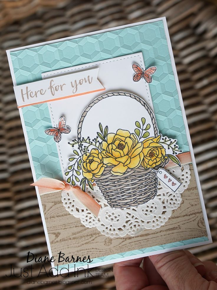 basket of flowerd card using Stampin Up Blossoming Basket free Saleabration stamp set. Card by Di Barnes #colourmehappy Demonstrator in Sydney Australia