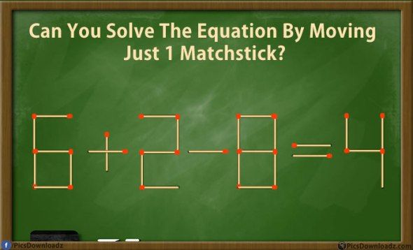 Can you solve these 5 matchstick puzzles riddles? Genius Matchstick Puzzle Riddles with answer. Move only one matchstick and make the equation correct. Take the challenge and solve these best matchstick puzzles. You will have to