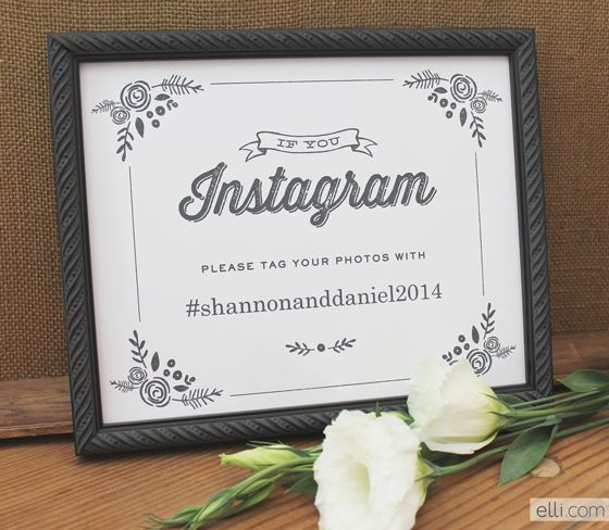 Free Wedding Instagram Sign Printable that includes your wedding hashtag