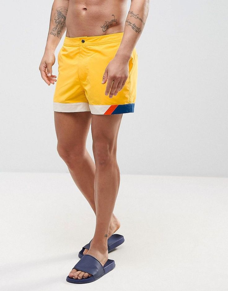 ASOS Swim Shorts In Yellow With Cut And Sew Detail In Short Length - Y