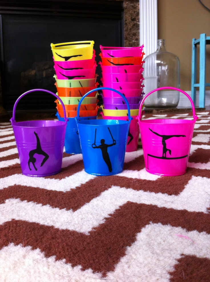 Gymnastics or Dance Themed Party Favor Buckets. $2.50, via Etsy.