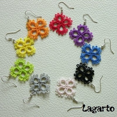 Beginner tatted earrings.  LOVE the colours! I must get some more colours.