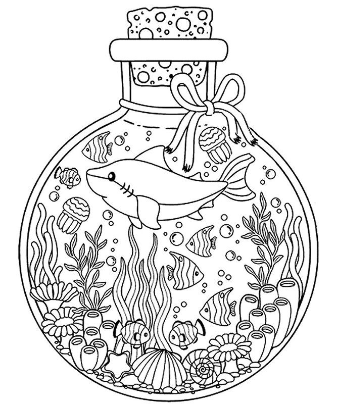 Shark in Bottle | Coloring pages, Adult coloring, Animal ...