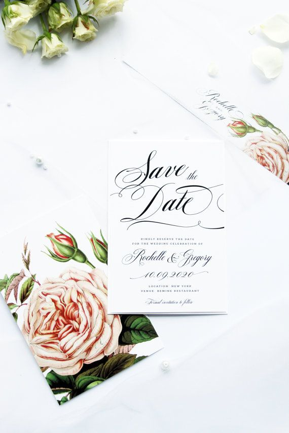 Claudette Save the Date Cards, Watercolour Roses Classy Romantic and Elegant