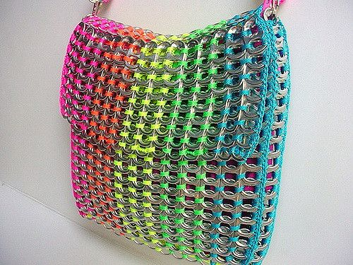 https://flic.kr/p/6z2ZoY | Rainbow Pull Tab Shoulder Bag | So lovely....neon-colored nylon yarn: pink, orange, yellow, green and blue.