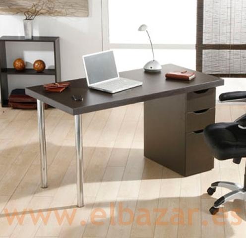 Mesa escritorio oficina croca mdf wengue cajonera for Muebles de oficina color wengue