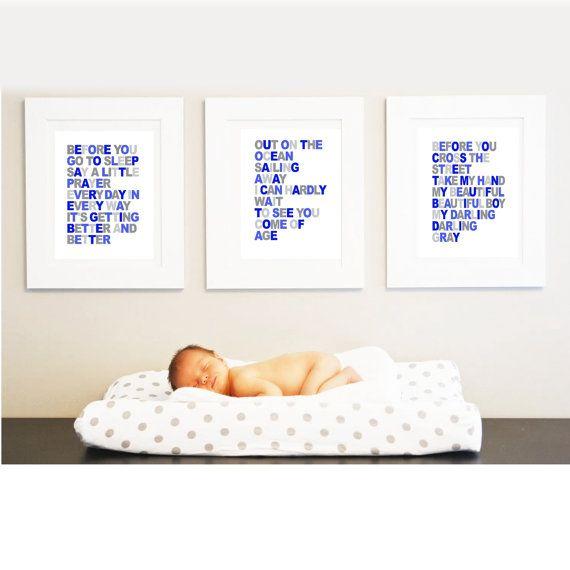 Beautiful Boy Lyrics - John Lennon - Your Boy's name - 11x14 -Set of 3- Wall art print - navy blue- nursery art on Etsy, $55.00