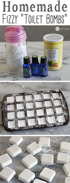 DIY fizzy toilet bombs. Bombas de limpieza de wc con bicarbonato de sodio, ácido cítrico y aceites esenciales.