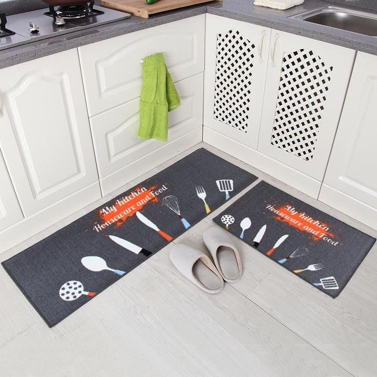 "2 Pcs Non-Slip Kitchen Rubber Mat Doormat Runner Rug Set-Black 15""x47""+15""x23"" #Carvapet"