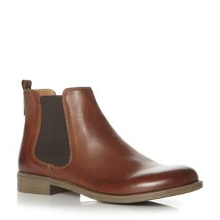 dune ladies tan round toe leather chelsea boot, dune shoes online