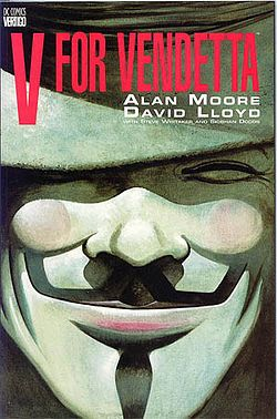"V for Vendetta is a graphic novel written by Alan Moore and illustrated mostly by David Lloyd, set in a dystopian future United Kingdom imagined from the 1980s to about the 1990s. A mysterious masked revolutionary who calls himself ""V"" works to destroy the totalitarian government, profoundly affecting the people he encounters.  http://en.wikipedia.org/wiki/V_for_Vendetta"