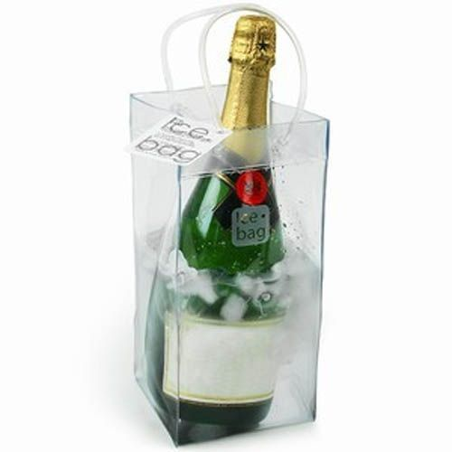 ICE BAG Collapsible Champagne Cooler Bag Perfect for parties, picnics and restaurant service. Portable(sturdy loop handles), strong and durable. Just add ice and water, insert bottle and you are ready to go.   -Dim: 9-5/8 inches high X 6 inches wide X 5-1/2 inches -Durable PVC -Water resistant