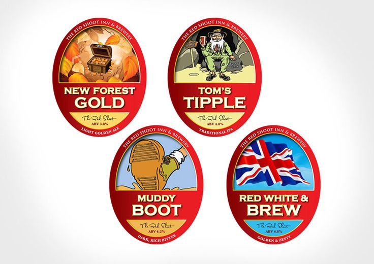 Beer Pump Designs  This was a fun creative project. We were asked to redesign four pump designs for New Forest Gold, Tom's Tipple, Muddy Boot and Red White & Brew. Using the existing illustrations the designs needed to fit in with the existing Wadworth look and feel. The solution was well received and the beer tasted great!
