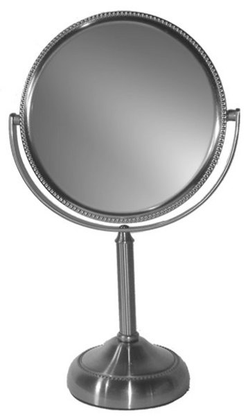 10 times magnification Nickel finished vanity mirror.